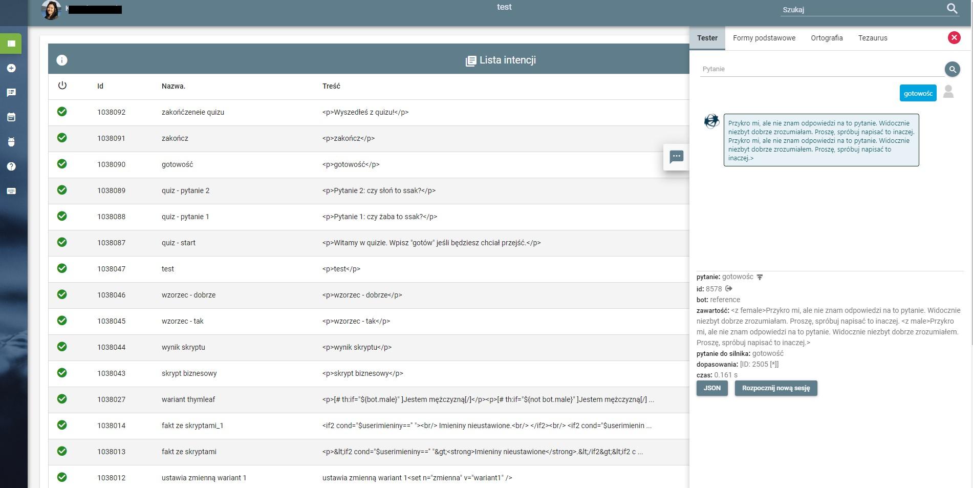 Lista faktów w nowym Panelu Administracyjnym Platformy Omni-Chatbot